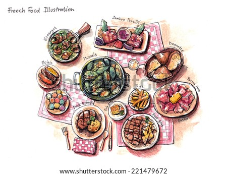 french food illustration, escargot, mussels, foie gras, duck and other delicious stuffs - stock photo