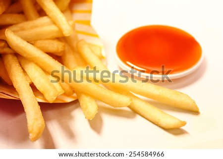 French fried with chilli sauce - stock photo