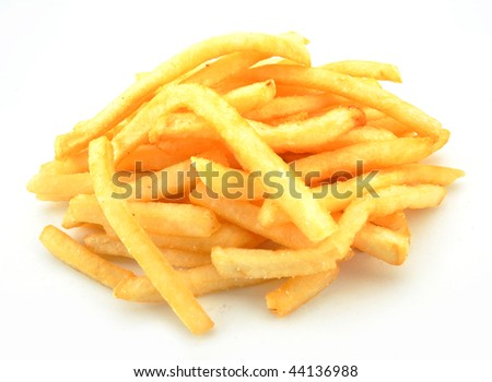 French fries against a white - stock photo