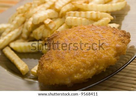 french fries and chop - stock photo