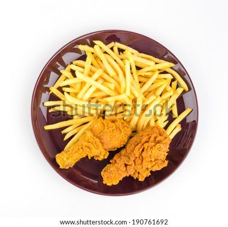 French fries and fried chicken isolated white background - stock photo