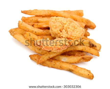 french fries and fried shrimp on white background