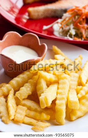 French fries and mayonnaise on white plate with steak and salad background - stock photo