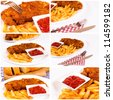 French fries and meat collage - stock photo