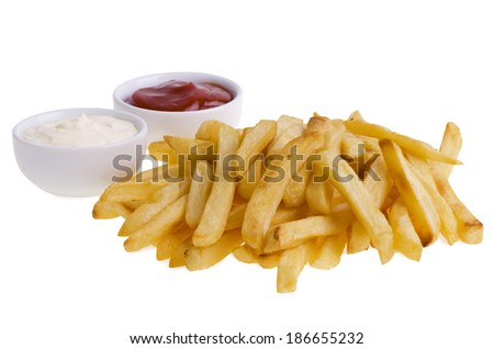 French fries and sauces isolated on white background. - stock photo