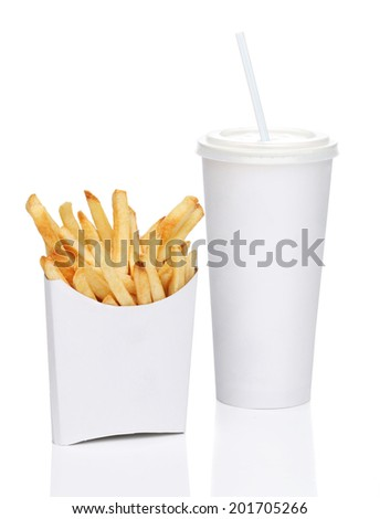 French fries and soda isolated on white background
