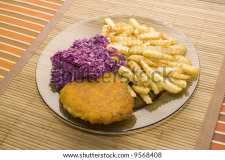 french fries chop and salad - stock photo