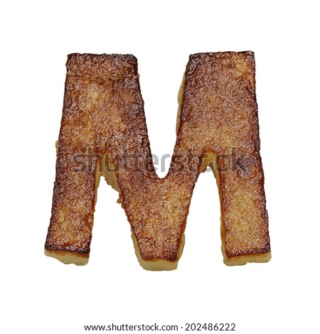 French fries font letter M. Potato font isolated on white background. - stock photo