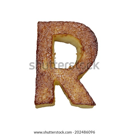 French fries font letter R. Potato font isolated on white background. - stock photo