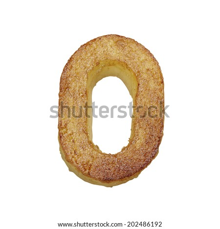 French fries font number 0. Potato font isolated on white background. - stock photo