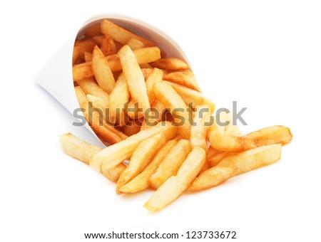 French fries, fried potato isolated on white background - stock photo