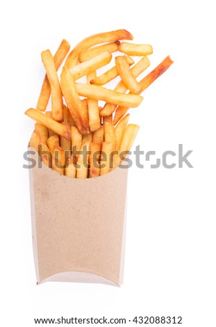 French fries in a brown paper bag isolated on a white background