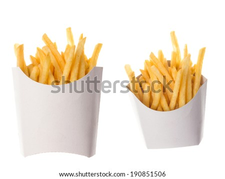 french fries in a paper wrapper on white background; two portions of french fries