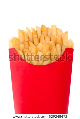 French fries in a red paper bag isolated on a white background
