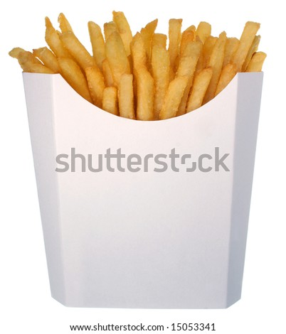 French fries in a white box