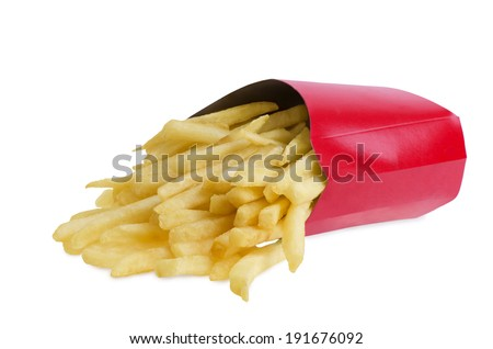 French fries in red box, isolated on white background. - stock photo