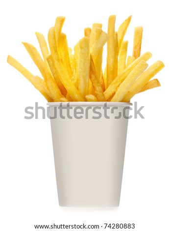 French fries in white box on white background - stock photo