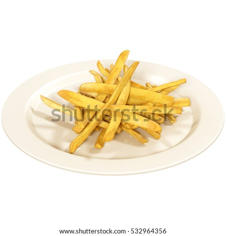 French fries in white plate isolated on white background, 3d illustration