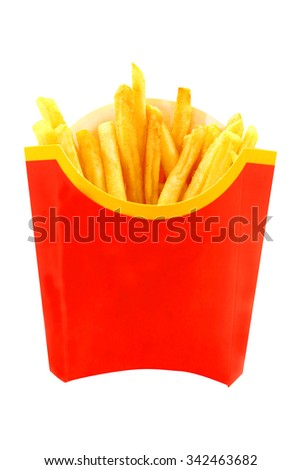 French fries is photographed close-up on a white background