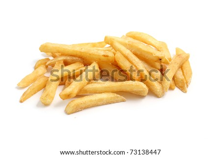French Fries isolated in white background - stock photo
