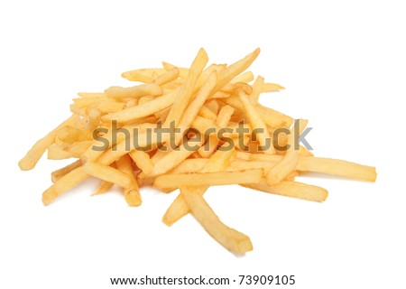 French fries isolated on white - stock photo