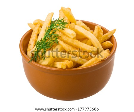 French fries isolated on white background with dill - stock photo