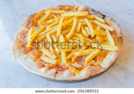 French fries Pizza - stock photo