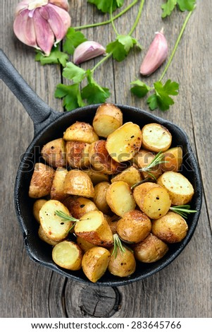 French fries potato in pan, top view - stock photo