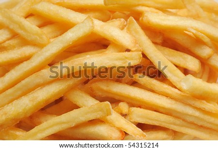 French fries potatoes , horizontal full frame - stock photo