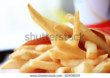 French fries potatoes isolated on white background - stock photo