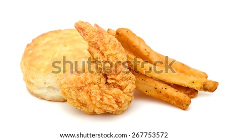French fries with biscuit and fried shrimp on white background  - stock photo