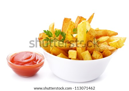French fries with ketchup closeup isolated over white - stock photo