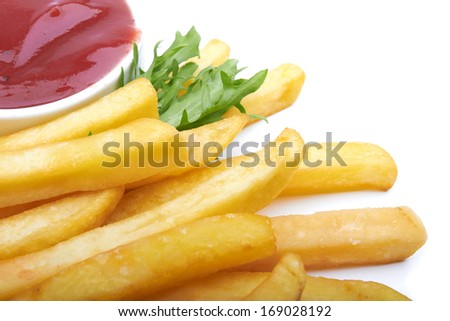French fries with ketchup on a white background