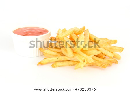 French fries with ketchup on white background.