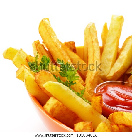 French fries with ketchup over white background - stock photo