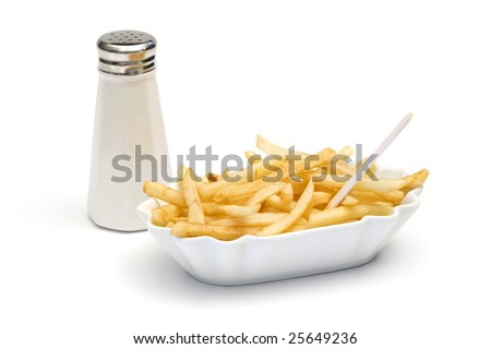 french fries with pick in bowl and salt shaker isolated - stock photo