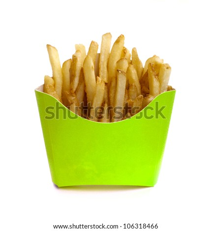 French fry in green box isolated on white background