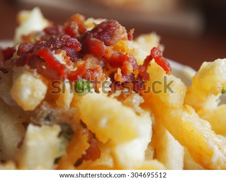 French Fry with bacon topper - stock photo