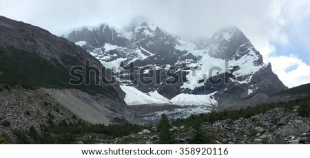 French Glacier in Torres del Paine National Park, Chile - stock photo