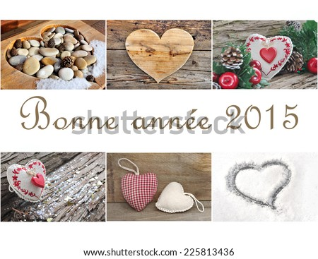 French greeting card for the New Year with photos collage of hearts - stock photo