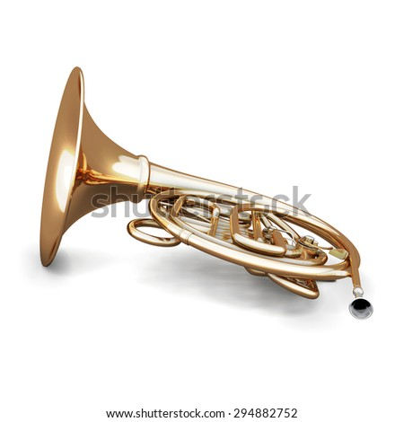 French horn isolated on white background. 3d illustration. Music instruments series. - stock photo