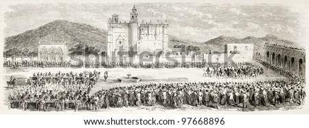 French intervention in Mexico: parade in Acatzingo main square. Created by Gaildrau after Souvigny, published on L'Illustration, Paris, 1863 - stock photo
