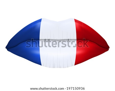 French kiss. Beautiful luscious lips with flag of France texture. Isolated on white background. Bitmap copy. - stock photo