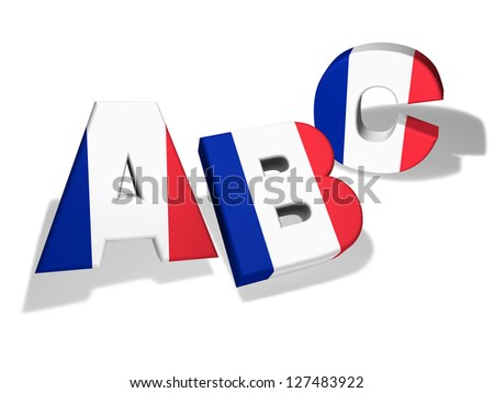 French language school and education concept with the letters Abc and the colors of France flag on white background. - stock photo
