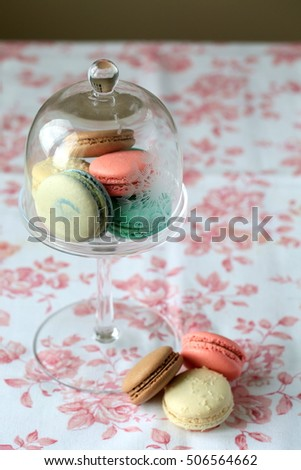 French macarons pastel colored