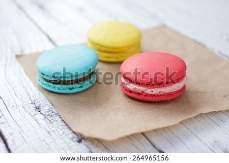 French macaroon.Traditional french dessert colorful macarons.