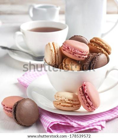 French macaroons. Coffee, chocolate, vanilla and raspberry macaroons ...