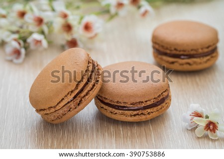 French macaroons on table
