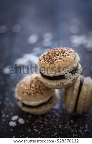French macaroons with festive decoration