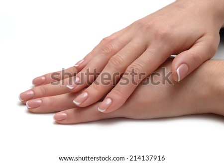 french manicure isolated on white background - stock photo